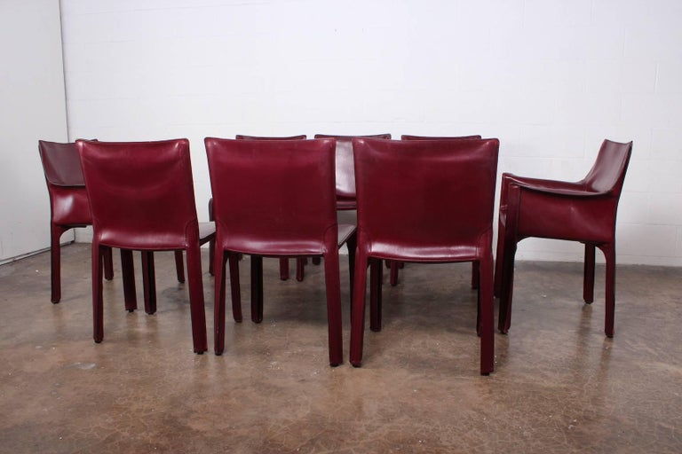 Late 20th Century Set of Eight Cab Chairs by Mario Bellini for Cassina For Sale