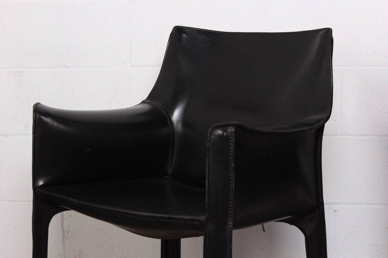 Set of Four Cab Armchairs by Mario Bellini for Cassina In Good Condition For Sale In Dallas, TX