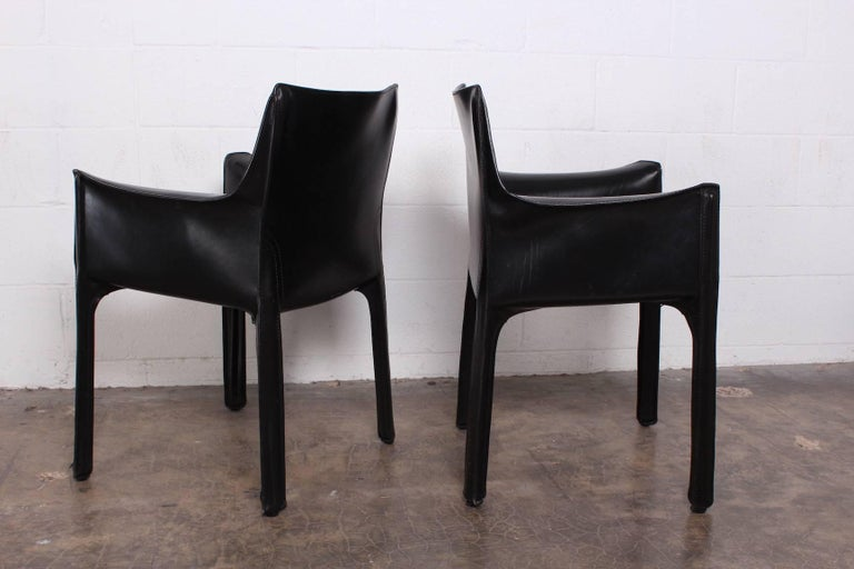 Late 20th Century Set of Four Cab Armchairs by Mario Bellini for Cassina For Sale