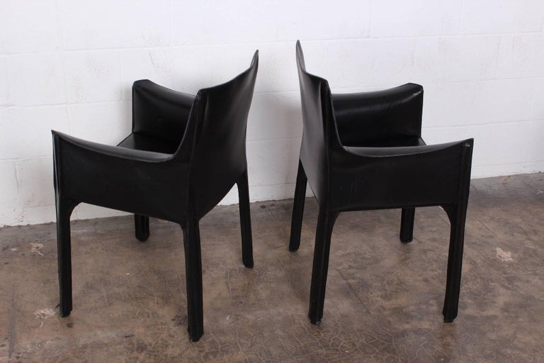 Set of Four Cab Armchairs by Mario Bellini for Cassina For Sale 1