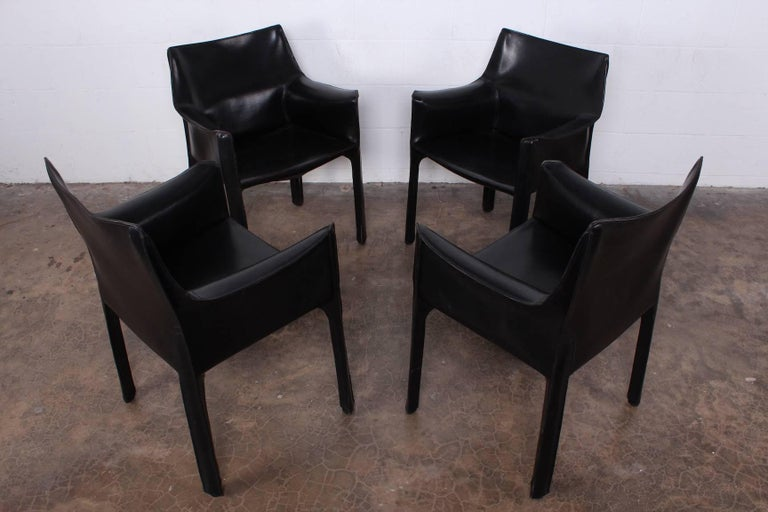 Set of Four Cab Armchairs by Mario Bellini for Cassina For Sale 4