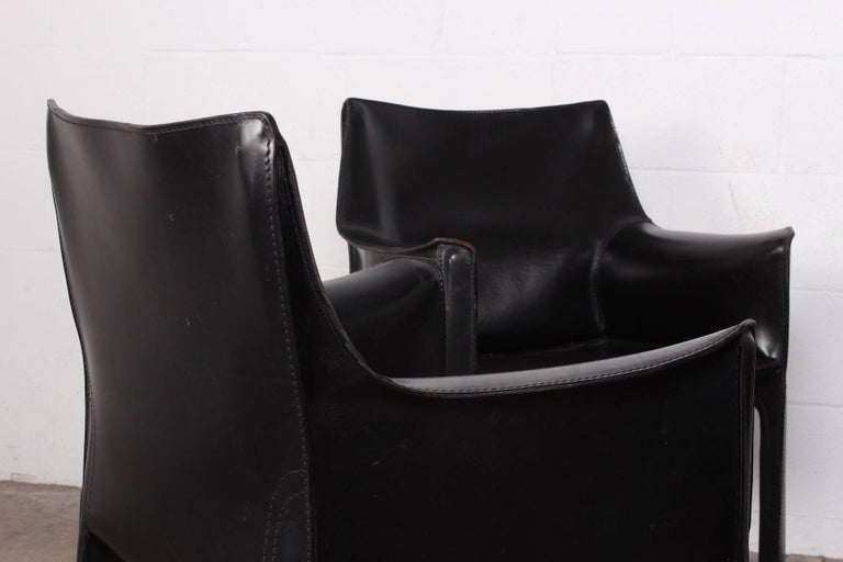 Set of Four Cab Armchairs by Mario Bellini for Cassina For Sale 6