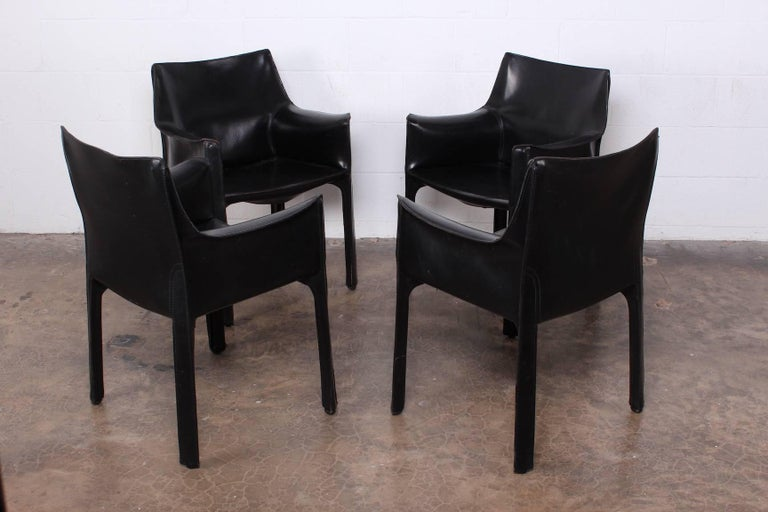 Set of Four Cab Armchairs by Mario Bellini for Cassina For Sale 7