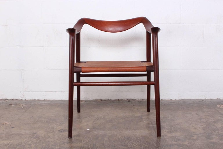 Teak Bambi armchair by Radstad and Relling with original leather seat.
