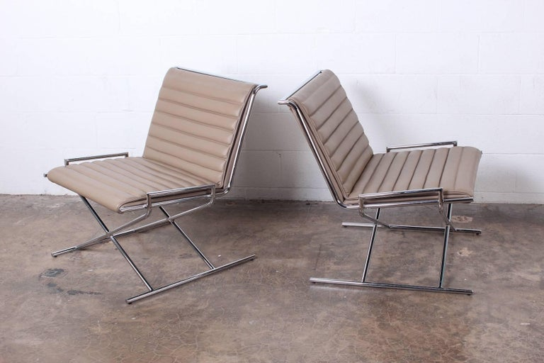 Pair of Ward Bennett Sled Chairs in Leather In Good Condition For Sale In Dallas, TX