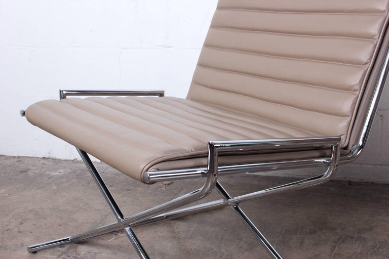 Pair of Ward Bennett Sled Chairs in Leather For Sale 1
