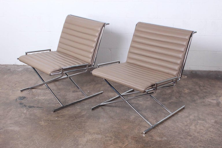 Pair of Ward Bennett Sled Chairs in Leather For Sale 3