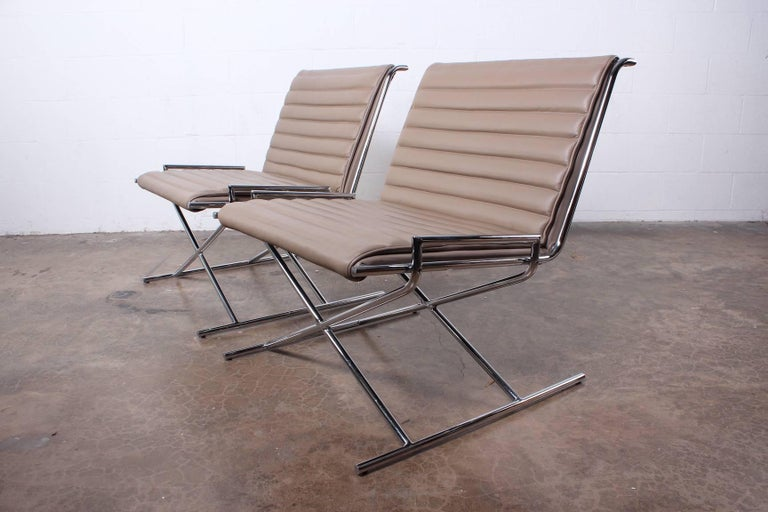 Pair of Ward Bennett Sled Chairs in Leather For Sale 4
