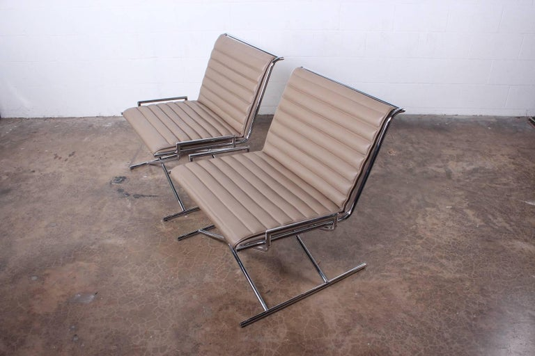 Pair of Ward Bennett Sled Chairs in Leather For Sale 5