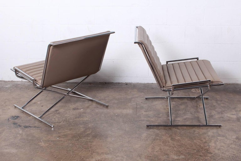 Pair of Ward Bennett Sled Chairs in Leather For Sale 6