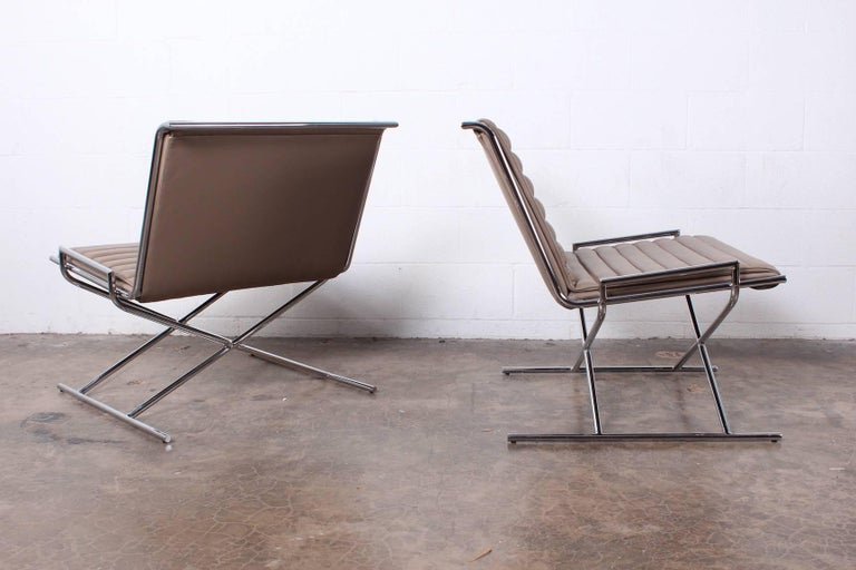 Pair of Ward Bennett Sled Chairs in Leather For Sale 7