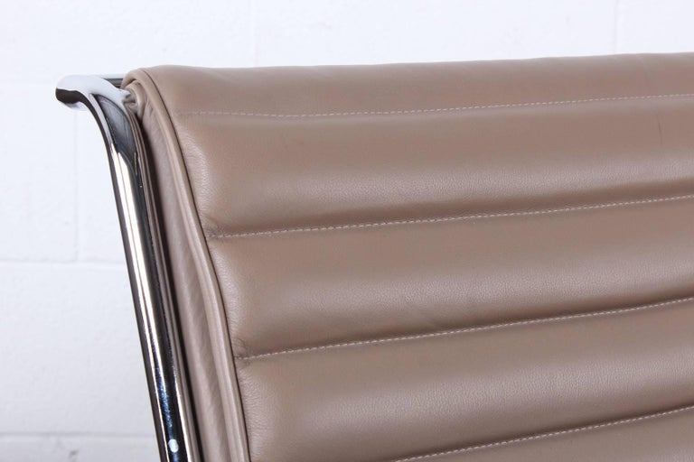 Pair of Ward Bennett Sled Chairs in Leather For Sale 9