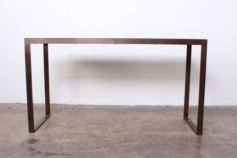 Bronze and Oak Console Table by Dunbar In Good Condition For Sale In Dallas, TX