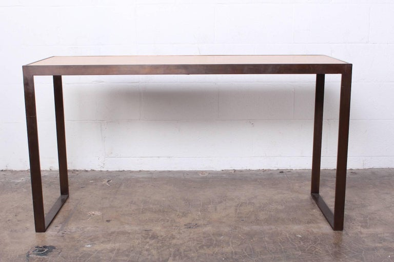 Late 20th Century Bronze and Oak Console Table by Dunbar For Sale