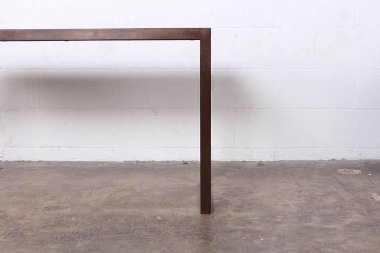 Bronze and Oak Console Table by Dunbar For Sale 1