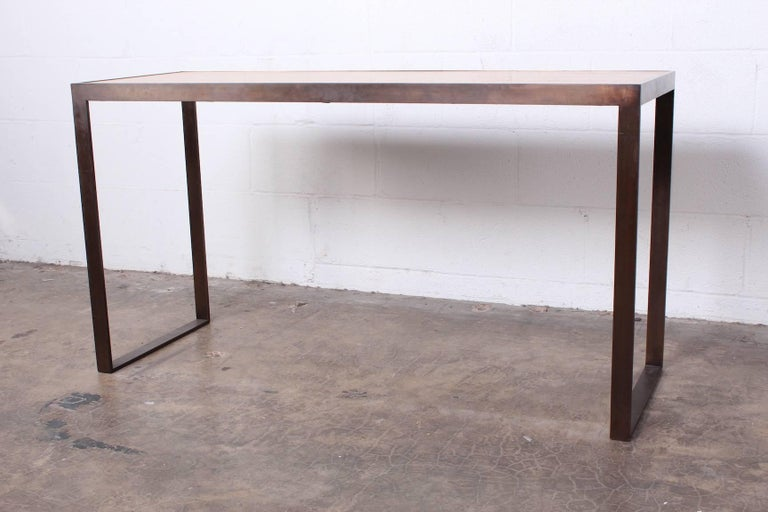 Bronze and Oak Console Table by Dunbar For Sale 2