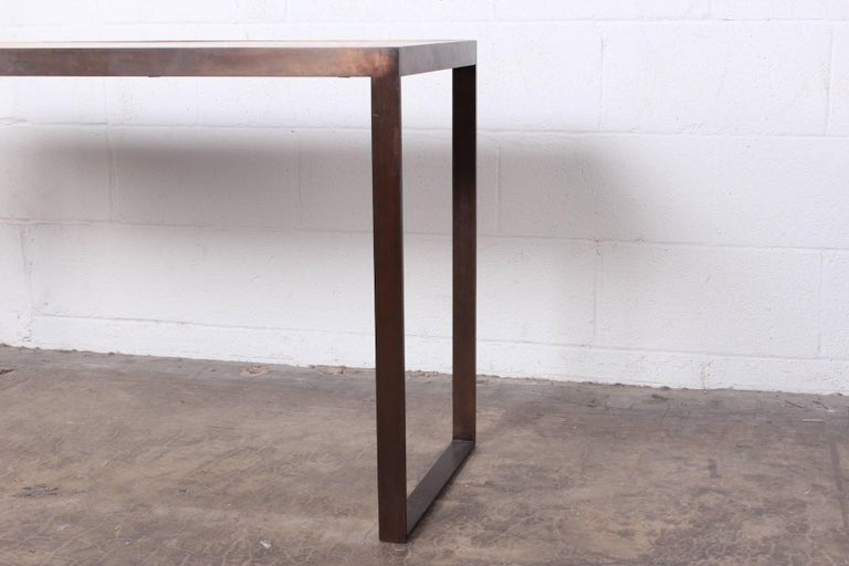 Bronze and Oak Console Table by Dunbar For Sale 3