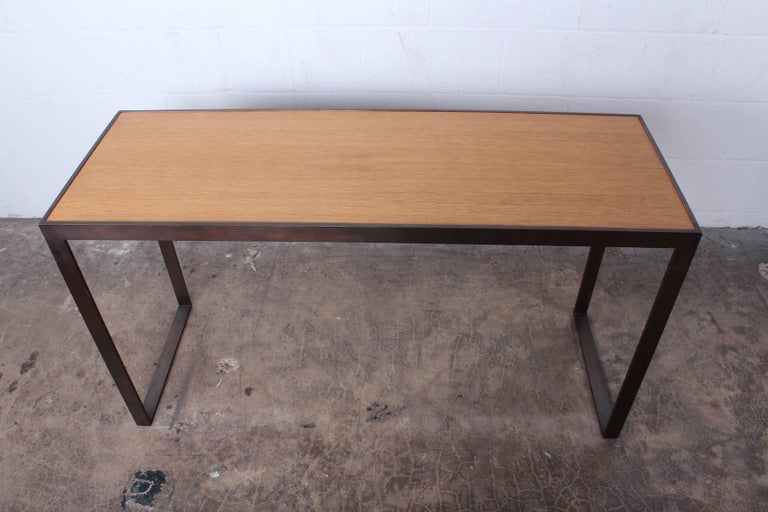 Bronze and Oak Console Table by Dunbar For Sale 5