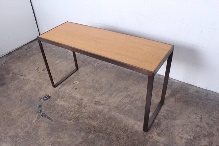 Bronze and Oak Console Table by Dunbar For Sale 6