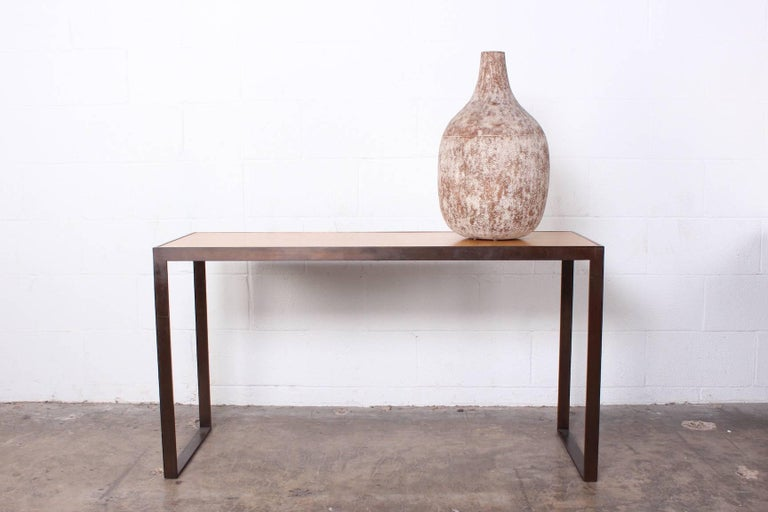 Bronze and Oak Console Table by Dunbar For Sale 8