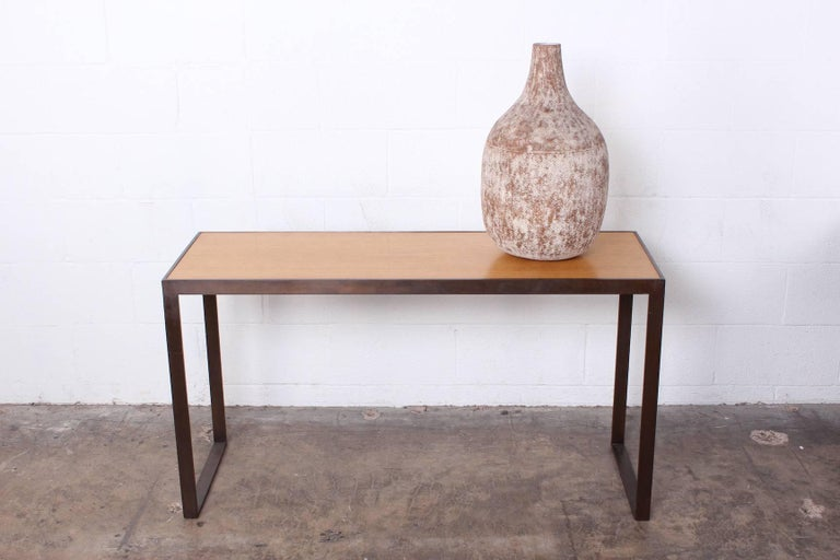 Bronze and Oak Console Table by Dunbar For Sale 9