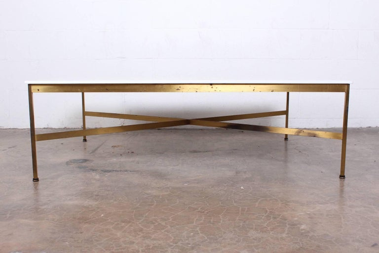 Brass and Vitrolite Coffee Table by Paul McCobb In Good Condition For Sale In Dallas, TX