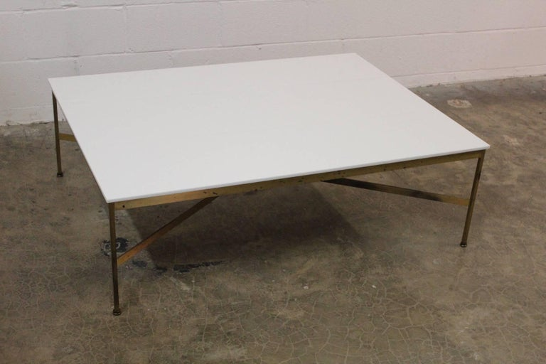 Mid-20th Century Brass and Vitrolite Coffee Table by Paul McCobb For Sale