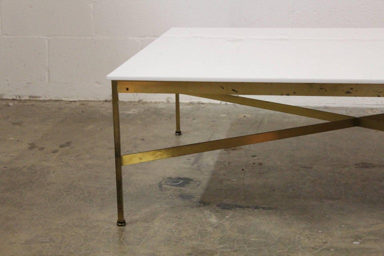 Brass and Vitrolite Coffee Table by Paul McCobb For Sale 1