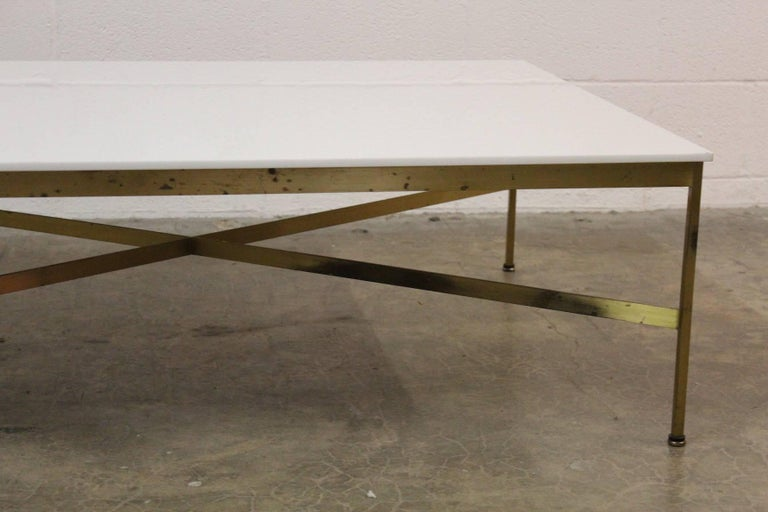 Brass and Vitrolite Coffee Table by Paul McCobb For Sale 2