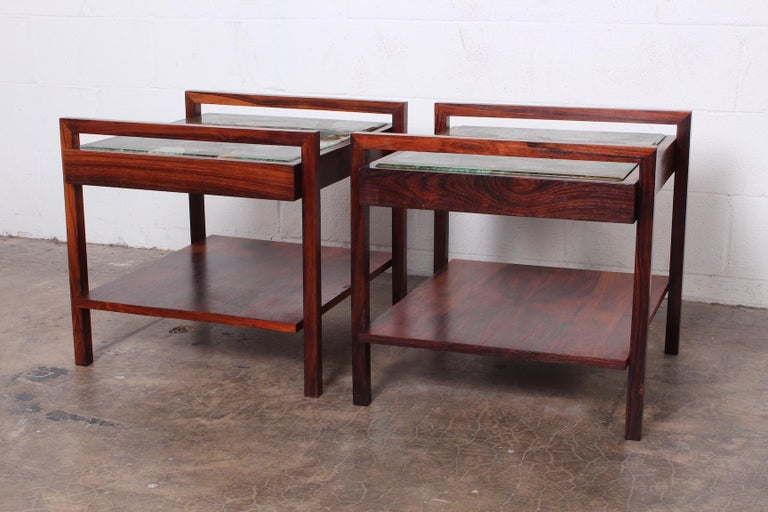 Pair of Rosewood and Agate Tables In Good Condition For Sale In Dallas, TX