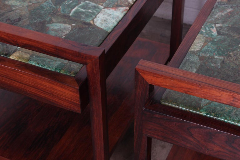 Pair of Rosewood and Agate Tables For Sale 1