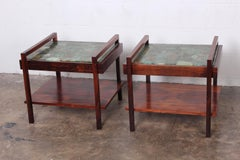 Pair of Rosewood and Agate Tables