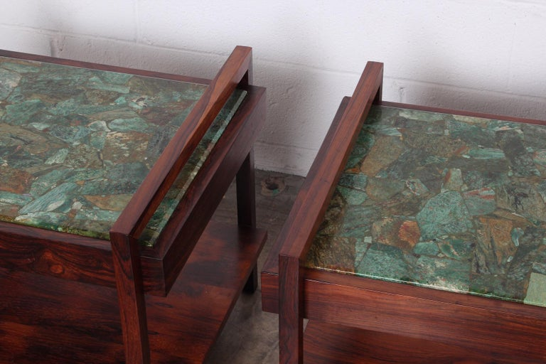 Pair of Rosewood and Agate Tables For Sale 8