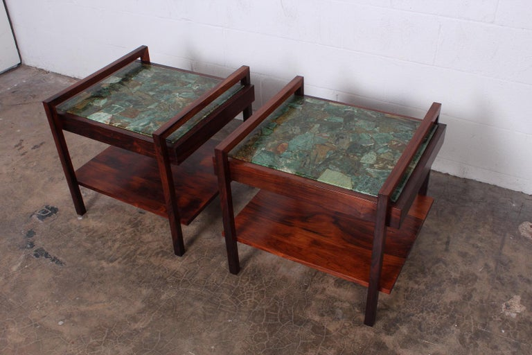 Pair of Rosewood and Agate Tables For Sale 9