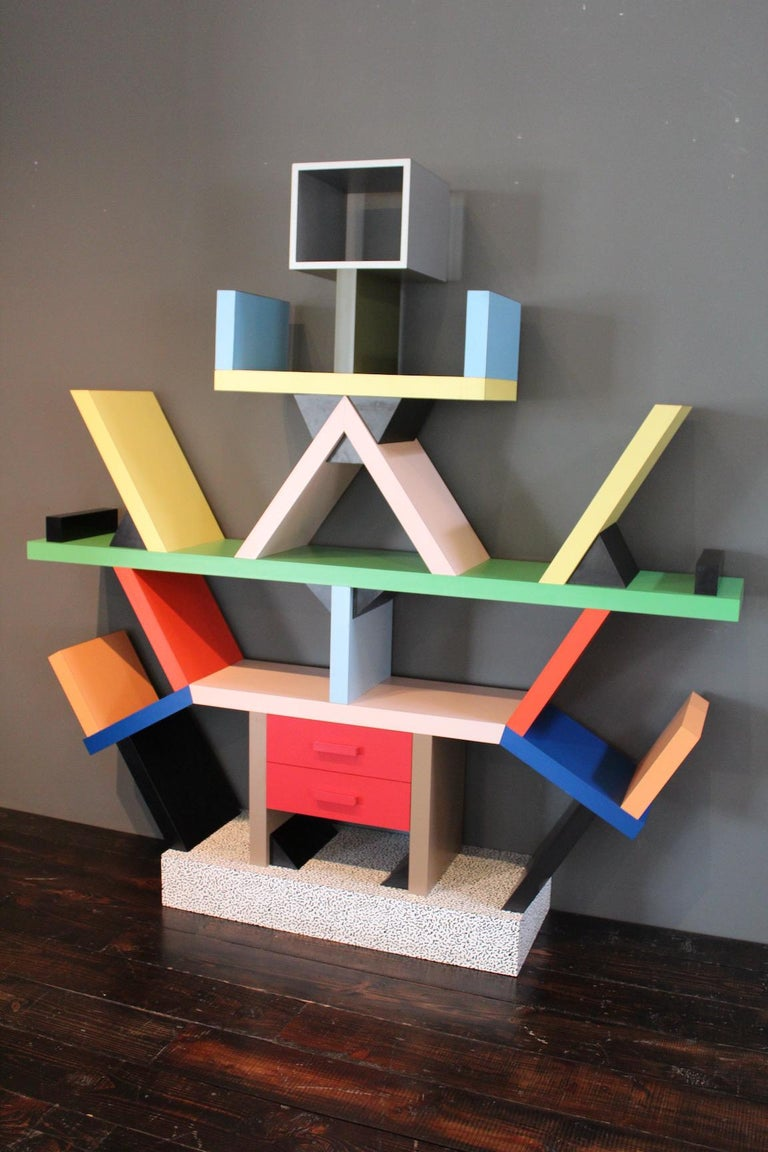 An iconic, early example of the Carlton bookcase designed by Ettore Sottsass for Memphis, 1981.