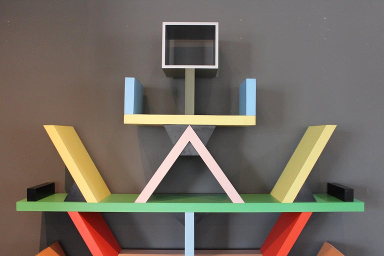 Early Carlton Bookcase Roomdivider by Ettore Sottsass for Memphis, 1981 For Sale 2