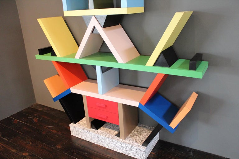 Early Carlton Bookcase Roomdivider by Ettore Sottsass for Memphis, 1981 For Sale 3