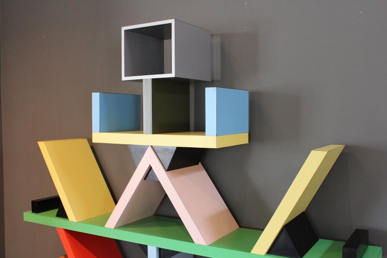 Early Carlton Bookcase Roomdivider by Ettore Sottsass for Memphis, 1981 For Sale 4