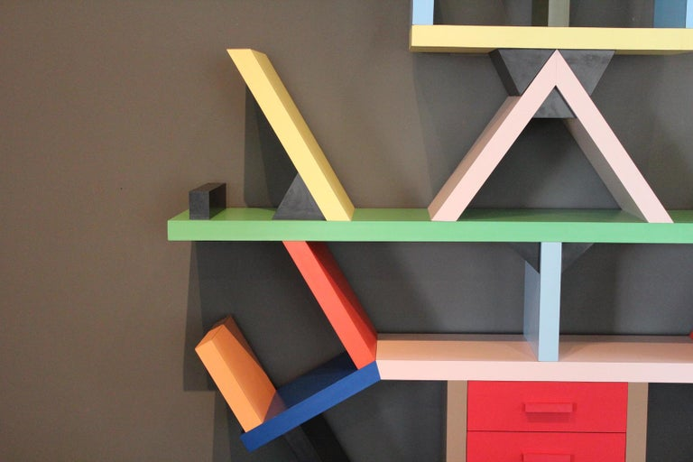 Early Carlton Bookcase Roomdivider by Ettore Sottsass for Memphis, 1981 For Sale 5