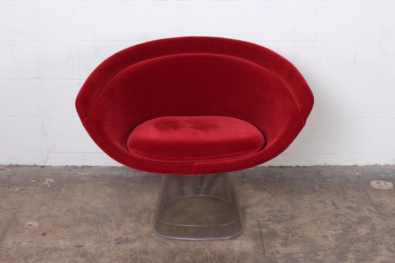 A lounge chair in mohair with nickel frame. Designed by Warren Platner for Knoll.