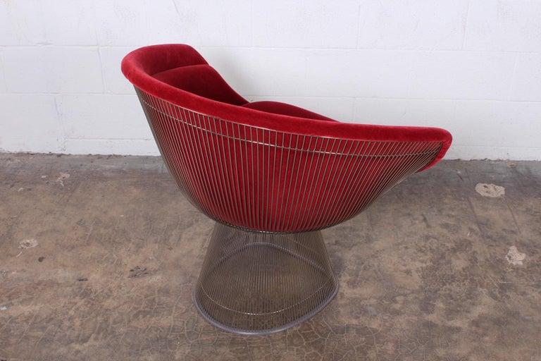 Warren Platner Lounge Chair in Mohair For Sale 1