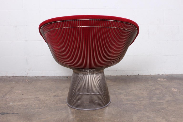 Warren Platner Lounge Chair in Mohair For Sale 2