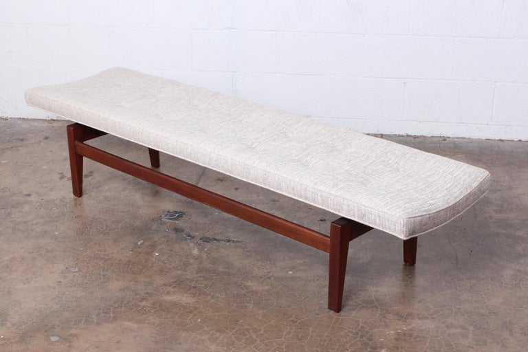 Large Walnut Bench by Jens Risom In Excellent Condition For Sale In Dallas, TX