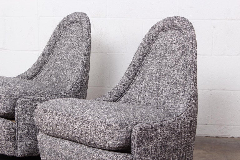 Pair of Petite Rocking Swivel Chairs by Milo Baughman For Sale 6
