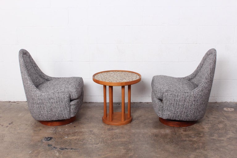 Pair of Petite Rocking Swivel Chairs by Milo Baughman For Sale 8