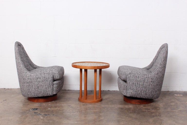 Pair of Petite Rocking Swivel Chairs by Milo Baughman For Sale 9