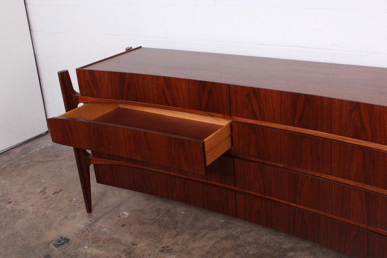 Walnut Curved Front Dresser Designed by William Hinn For Sale 7