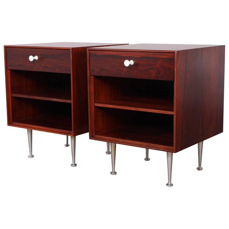 Pair of Rosewood Thin Edge Nightstands by George Nelson For Sale