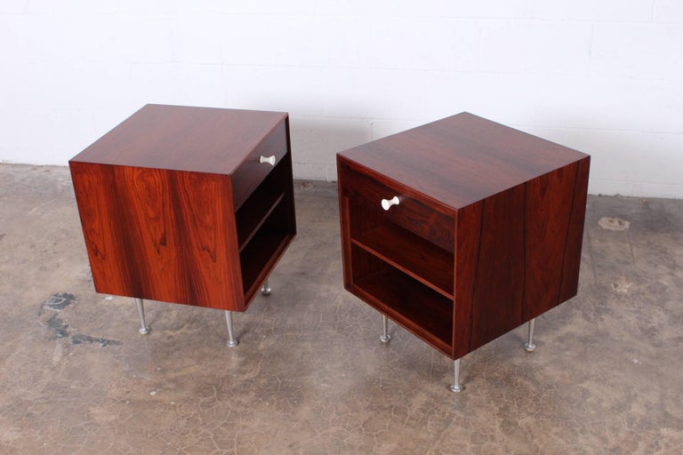 Mid-20th Century Pair of Rosewood Thin Edge Nightstands by George Nelson For Sale