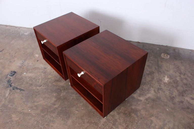 Pair of Rosewood Thin Edge Nightstands by George Nelson For Sale 1
